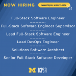 """Blue and yellow """"Now Hiring"""" image with multiple open positions at ICPSR"""