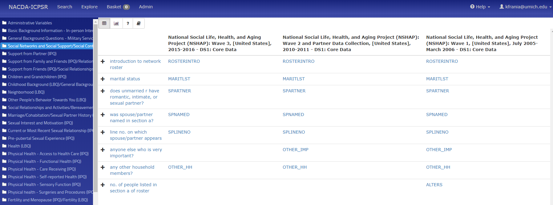 Screen capture of the NACDA-ICPSR portal with the NSHAP data - exploring social network variables across waves 1-3