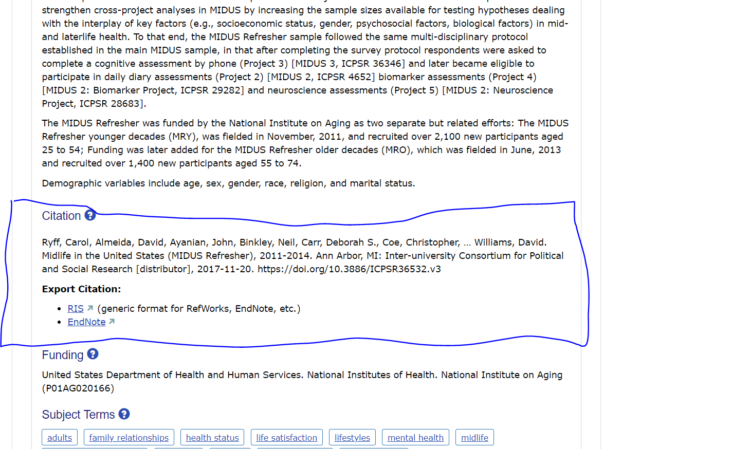 screenshot of study page for 36532 showing citation located just under the summary