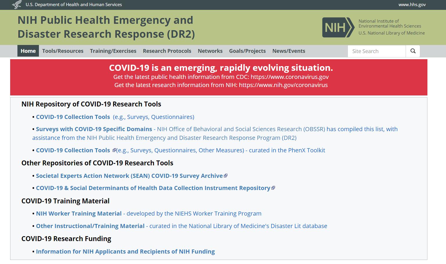 screenshot of NIH Disaster Research Response Homepage