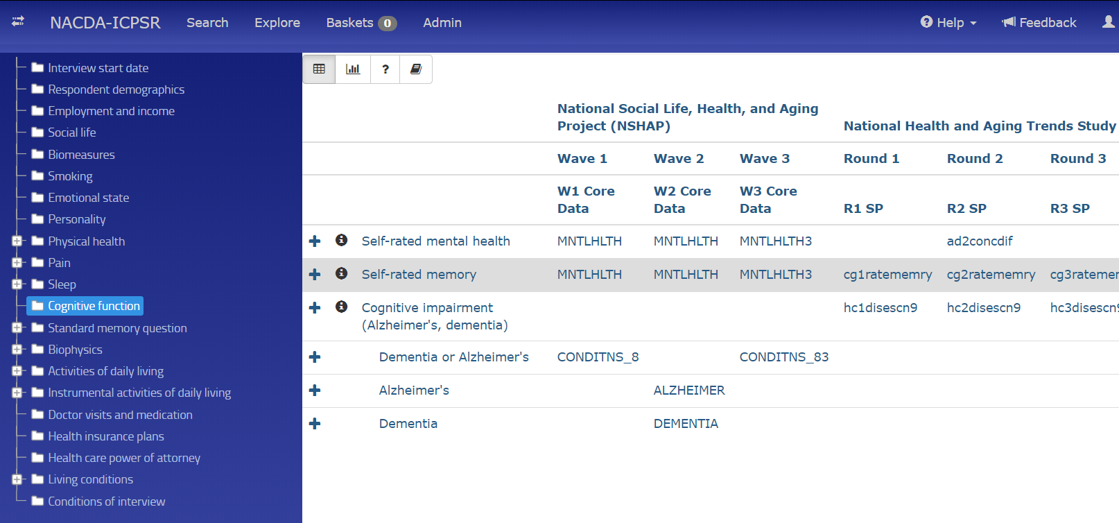 screenshot of the NACDA-ICPSR Colectica portal - cross series cognitive comparisons explore page - featuring cognitive function variables