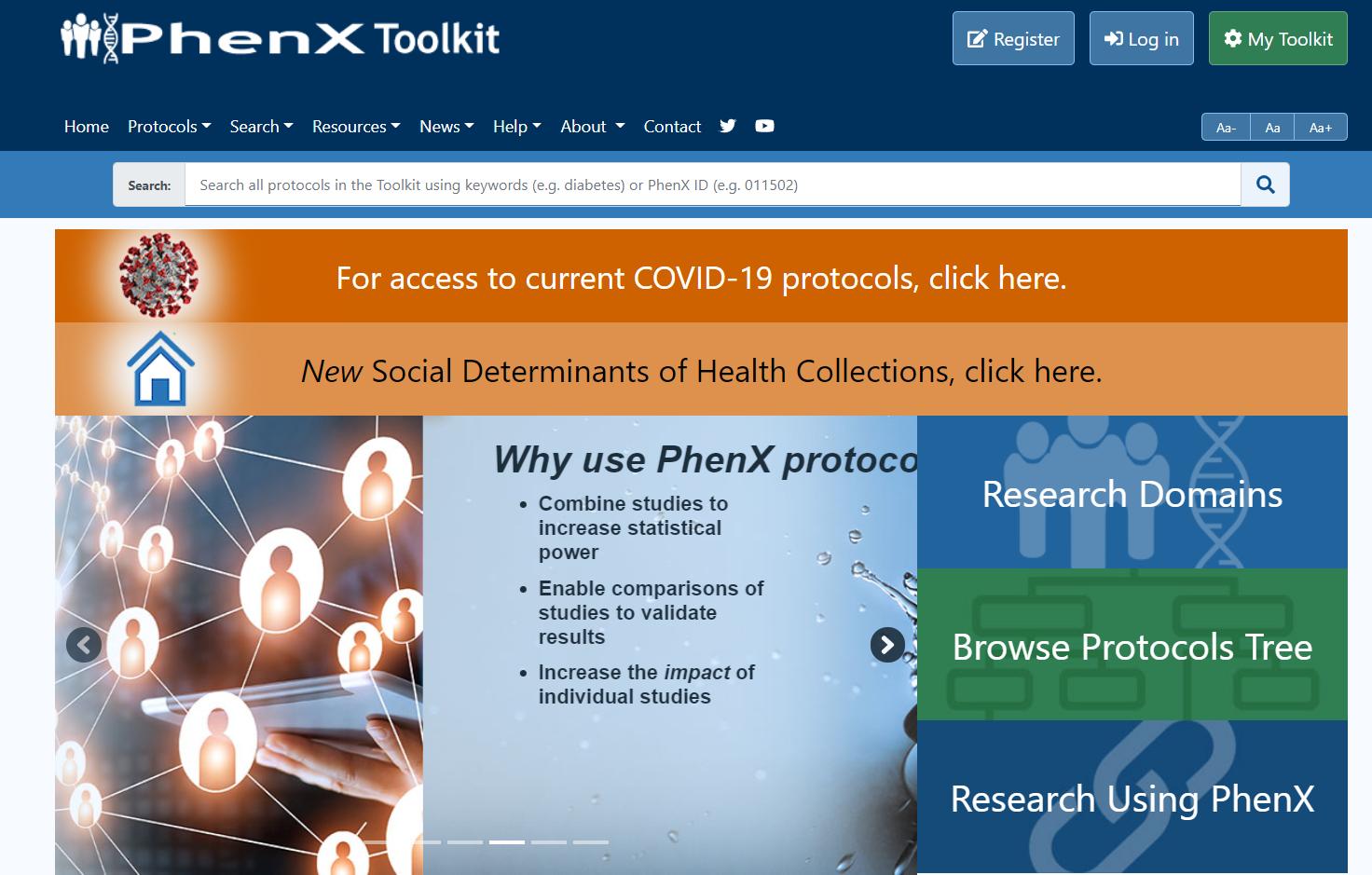 screenshot of PhenX Toolkit homepage