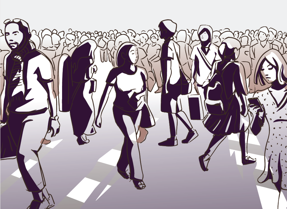 Line drawing of people walking in a busy street