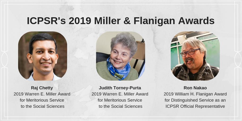 Photo of 2019 ICPSR award winners Raj Chetty, Judith Torney-Purta, and Ron Nakao