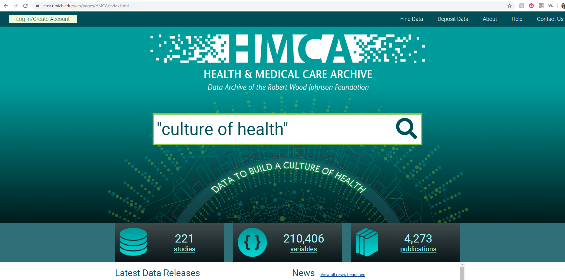 Screen image of home page for Health and Medical Care Archive